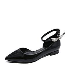 Teenmix/天美意夏专柜同款黑色牛皮个性优雅女凉鞋AP301BK7炫舞联名款