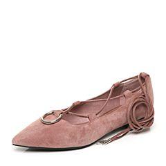 Teenmix/天美意2017秋专柜同款粉色羊绒皮/织物绑带鞋浅口女单鞋AP191CQ7