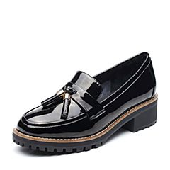 Teenmix/天美意2017秋专柜同款黑色简约率性英伦风乐福鞋女单鞋AP141CQ7