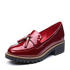 Teenmix/天美意2017秋专柜同款酒红色简约率性英伦风乐福鞋女单鞋AP141CQ7