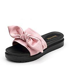 Teenmix/天美意夏专柜同款粉色织物文艺结饰平跟女凉拖鞋AP461BT7