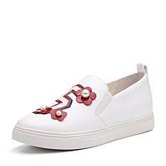 Teenmix/天美意秋白/红色牛皮珠饰花朵平跟卡乐鞋女乐福鞋6U531CM7