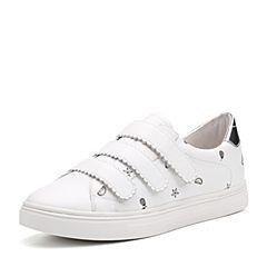 Teenmix/天美意秋白/银色牛皮趣味卡通图案卡乐鞋女休闲鞋6U528CM7