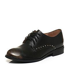 Teenmix/天美意秋金色光面小牛皮率性方跟系带鞋女单鞋6T424CM7