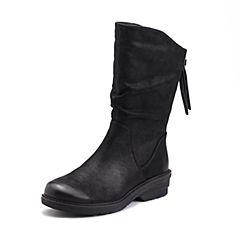 Teenmix/天美意2017冬专柜同款黑色牛皮流苏优雅方跟女中靴(绒里)6JQ73DS7