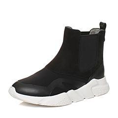 Teenmix/天美意2017冬黑色磨砂牛皮/纺织品厚底切尔西靴女靴CBR41DD7