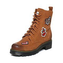 Teenmix/天美意2017冬季棕/白色二层牛皮趣味刺绣图案马丁靴女靴6WL64DZ7