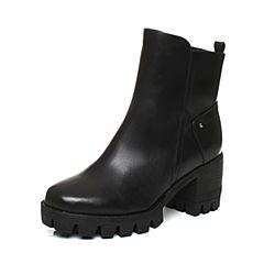 Teenmix/天美意2017冬黑色牛皮简约OL通勤风优雅粗跟女短靴6E849DD7