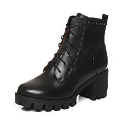 Teenmix/天美意2017冬黑色牛皮潮酷铆钉优雅粗跟马丁靴女靴6E846DD7