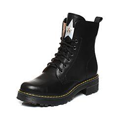 Teenmix/天美意2017冬季黑/银色牛皮星星铆钉马丁靴女靴6WL67DZ7