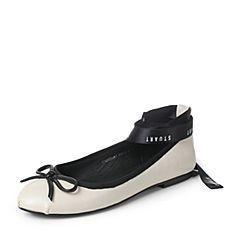 Teenmix/天美意2017秋白色羊皮优雅小方跟甜美绑带芭蕾舞单鞋女鞋17C02CQ7