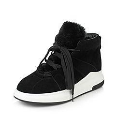 Teenmix/天美意2017冬黑色羊绒皮简约中性风休闲靴女短靴10102DD7