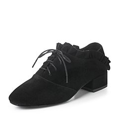 Teenmix/天美意2017秋黑色羊绒皮复古褶皱花边系带鞋女单鞋17601CM7