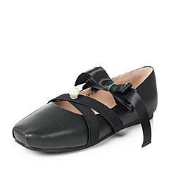 Teenmix/天美意2017秋黑色羊皮时尚珠饰优雅绑带芭蕾舞单鞋女鞋J6601CQ7
