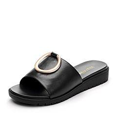 Teenmix/天美意夏专柜同款黑色牛皮几何大扣舒适平跟女凉拖鞋AP491BT7