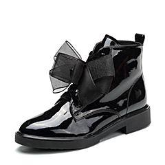 Teenmix/天美意2017冬季专柜同款黑色漆皮马丁靴女靴6U142DD7
