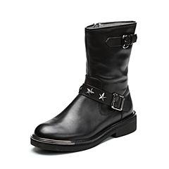 Teenmix/天美意2017冬专柜同款黑色牛皮铆钉朋克风女靴CA260DZ7