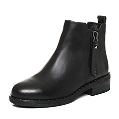 Teenmix/天美意2017冬黑色牛皮时尚铆钉简约优雅方跟女短靴CA940DD7