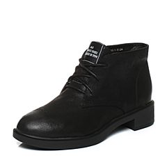 Teenmix/天美意2017冬专柜同款黑色珠光牛皮简约方跟女短靴CBE43DD7