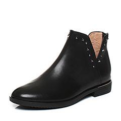 Teenmix/天美意冬专柜同款黑色牛皮时尚铆钉方跟女短靴CBQ44DD7