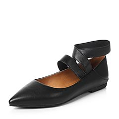 Teenmix/天美意秋黑色羊皮时髦尖头优雅小方跟简约浅口女单鞋R1025CQ7