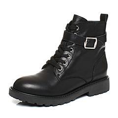 Teenmix/天美意2017冬黑色小牛皮时尚金属扣方跟马丁靴女靴B1670DZ7