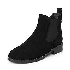 Teenmix/天美意2017冬黑色牛剖层皮简约方跟切尔西靴女靴J183DDD7
