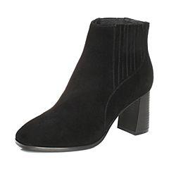 Teenmix/天美意2017冬黑色羊绒皮优雅粗跟切尔西靴女短靴17080DD7