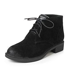 Teenmix/天美意2017冬黑色牛剖层皮时尚简约舒适方跟女短靴10026DD7