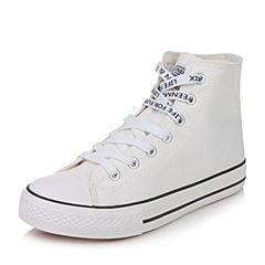 Teenmix/天美意2017秋白色纺织品休闲学院风男帆布鞋情侣鞋M6913CD7