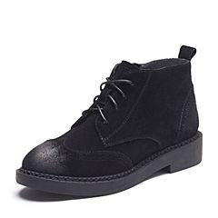 Teenmix/天美意冬专柜同款黑色牛剖层皮英伦风方跟女短靴AP861DD7
