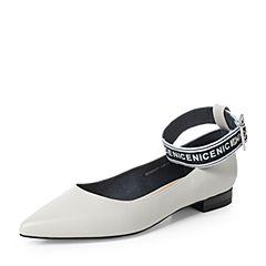 Teenmix/天美意2017秋灰白色羊皮个性字母绑带时髦尖头浅口女单鞋D0169CQ7