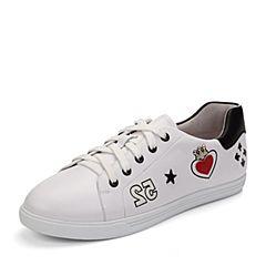 Teenmix/天美意秋白/黑/红色牛皮趣味图案卡乐鞋女休闲鞋6V522CM7炫舞联名款