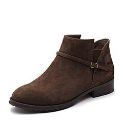 Teenmix/天美意2017冬专柜同款卡其色羊绒皮方跟切尔西靴女短靴AQ271DD7