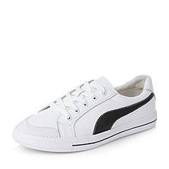 Teenmix/天美意秋白/黑色牛皮活力撞色学院风系带鞋女休闲鞋76026CM7