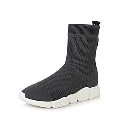 Teenmix/天美意2017冬灰色纺织品字母织带街头风袜筒靴女靴18903DD7