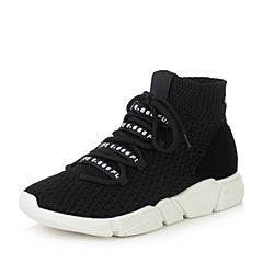 Teenmix/天美意2017冬黑色纺织品/牛剖层皮厚底运动风短靴女靴18901DD7