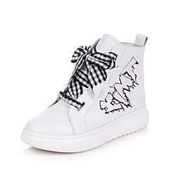 Teenmix/天美意2017冬白色牛皮厚底休闲风变色卡乐鞋女短靴6W545DD7