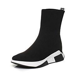 Teenmix/天美意2017冬专柜同款黑色布厚底袜筒靴女休闲靴女靴CCW60DZ7
