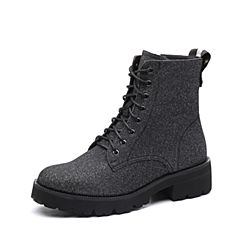 Teenmix/天美意2017冬专柜同款银黑色布方跟马丁靴女短靴CCY41DD7
