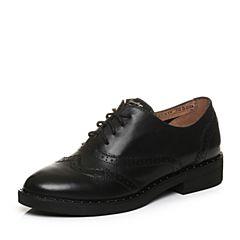 Teenmix/天美意2018春专柜同款黑色打蜡牛皮英伦风系带鞋女单鞋CCK20AM8