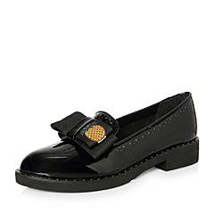 Teenmix/天美意2018春专柜同款黑色漆牛皮蝴蝶结乐福鞋女单鞋CCK01AQ8