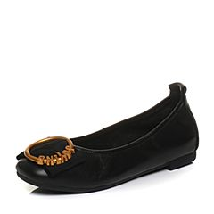 Teenmix/天美意2018春专柜同款黑色牛皮金属环方跟浅口女单鞋AQ861AQ8