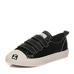Teenmix/天美意2018春专柜同款黑色牛皮学院风平跟女休闲鞋AQ901AM8