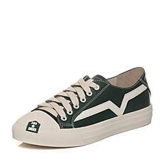 Teenmix/天美意2018春专柜同款绿/白色牛皮潮流撞色平跟女休闲鞋AQ891AM8