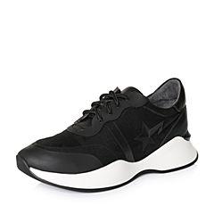 Teenmix/天美意2018春专柜同款黑色厚底街头风系带鞋女休闲鞋AQ881AM8
