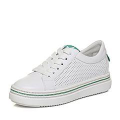 Teenmix/天美意2018春专柜同款白/绿色牛皮平跟系带鞋女休闲鞋AQ831AM8