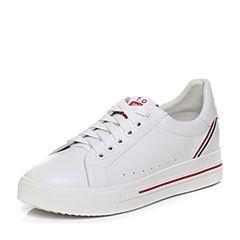 Teenmix/天美意2018春专柜同款白色牛皮平跟系带鞋女休闲鞋AQ811AM8