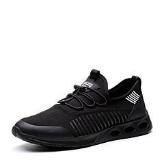 Teenmix/天美意2018春专柜同款黑色潮流街头风平跟男休闲鞋2FG01AM8