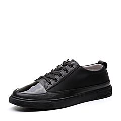 Teenmix/天美意2018春专柜同款黑色织物/牛皮系带鞋男休闲鞋2FI01AM8